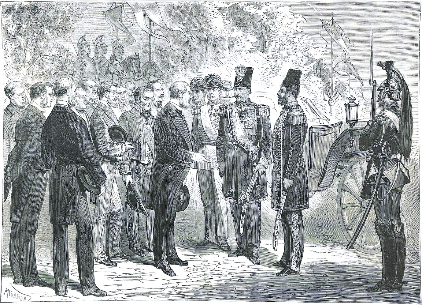 Naser al-Din Shah Qajar being received by the prefect of the Seine Department in Place de l'Etoile, Paris, France, illustration by Miranda from L'Illustration, Journal Universel, No 1585, Volume LXII, July 12, 1873.